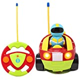 Joyin Toy Cartoon RC Race Car Radio Remote Control with Music & Sound for Baby and Toddler Cars, School Classroom Prize, Children Holiday Gift Toy for 2 Year Old