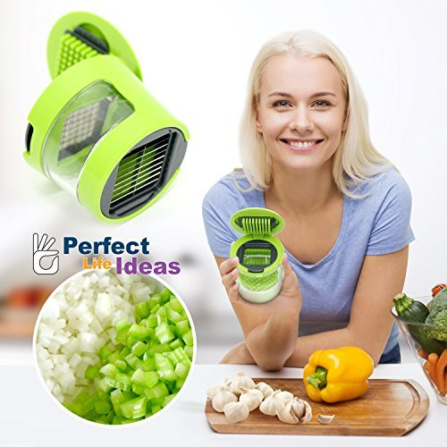 Perfect Life Ideas Soft Food Garlic Press Mini Chopper Mincer Slicer Dicer Grater Miniature Alligator Chopper Press for Soft Vegetables and Foods Only. Two Interchangeable Blades by Garlic Chopper