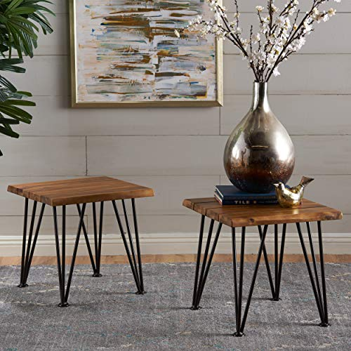 Gerston Indoor Industrial Rustic Finshed Iron and Teak Finished Acacia Wood Side Table