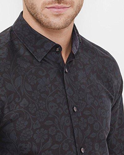 a2f63499a105 Ted Baker Shirt Korrie Black Floral Jacquard Size 15.5