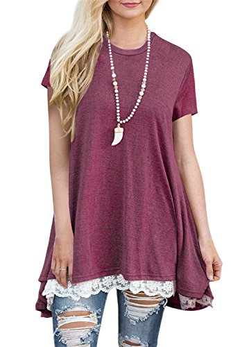 FERYSHE Womens Lace Hem Short Sleeve Flowy Tunic Shirt Long Tee Shirt XXL Red