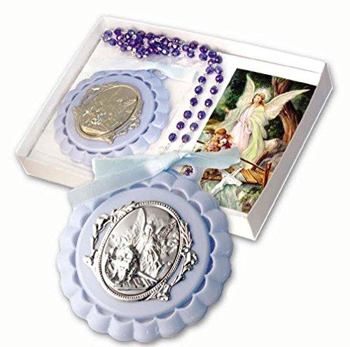 Guardian Angel Crib Medallion (Boy's Baby Blue Bead Rosary with Blue Crib Medallion with Blue Guardian Angel Medallion Gift Boxed)