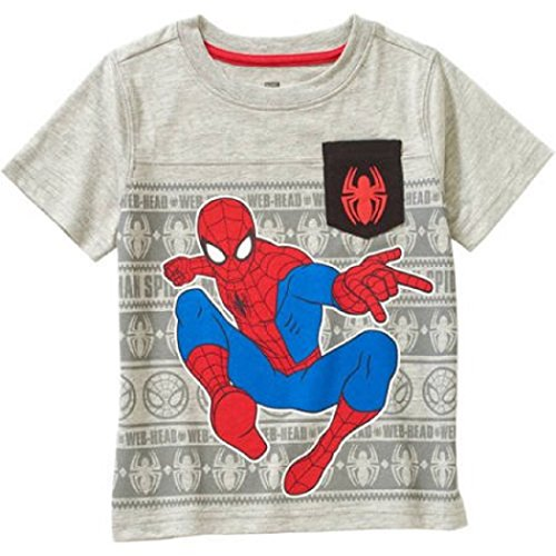 Spider-Man Toddler Little Boys Spiderman Grey T-Shirt w/ Pocket (3T, Grey) (T Shirt Spiderman)