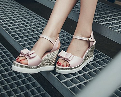 Carolbar Womens Buckle Bows Sweet Dress Chic Bridal Charm Peep Toe Wedges Sandals Pink cfpPgm