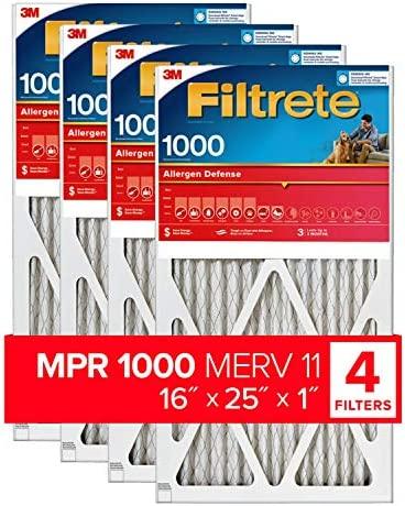 Filtrete 16x25x1, AC Furnace Air Filter, MPR 1000, Micro Allergen Defense, 4-Pack (precise dimensions 15.69 x 24.69 x 0.81)
