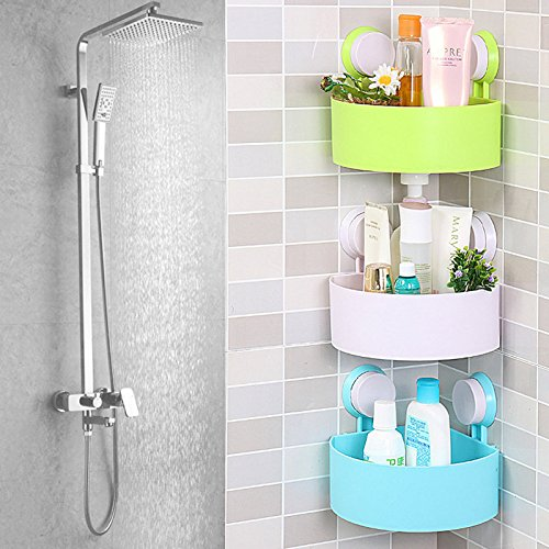 Cute cuarto de baño esquina Estantería de almacenamiento Organizador ducha pared Esquina estante con ventosa