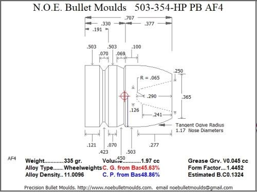 Bullet Mold 2 Cavity Aluminum .503 Caliber Plain Base 354gr Bullet with a Round/Flat Nose Profile Type. This Mould Casts