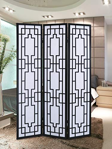 Traditional Wood Dividers - Roundhill Furniture Sudoku 3 Panel Room Divider Screen