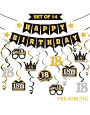LINGTEER 18 Birthday Decorations Set - Happy 18th Birthday Party Swirls Streamers Crown Glasses Gift Box Sign | Happy Birthday Garland Banner Cheers to Eighteen Years Old Birthday Party Supplies