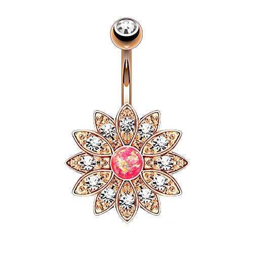 BodyJ4You Pink Created-Opal Flower Navel Barbell in Rose Goldtone Belly Button ()
