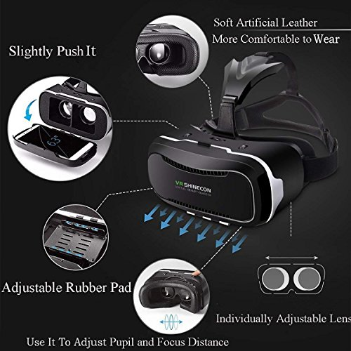 VR SHINECON VR Goggles for TV Movies /& Video Games 3D VR Glasses Compatible with iOS Android and Other Phones Within 4.7-6.0 inch Virtual Reality Glasses VR Headset