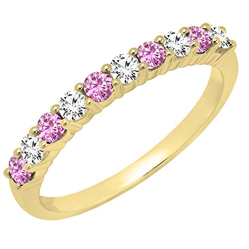 14K Yellow Gold Round Pink Sapphire & White Diamond Ladies Stackable Wedding Band (Size 8) 14k Yellow Gold Pink Sapphire