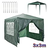 Bowose Gazebo with 4 Removable Sides Waterproof 120g PE Cover Steel Frame Outdoor Party Event Shelter Marquee Tent, 3x3m, Green