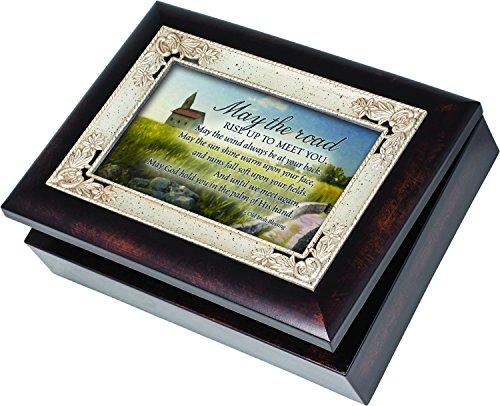 Cottage Garden Irish Blessing Road Rise Up Burlwood Jewelry Music Box Plays When Irish Eyes are Smiling