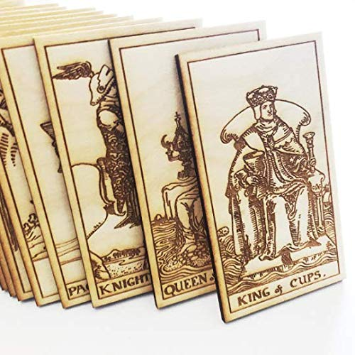 LumEngrave Wood Engraved Tarot Card Deck Rider Waite Collectible 78 Wooden Card Set Major & Minor Arcana Tarot Cards Occult Gift Astrology Gift (Major Arcana (22)) by LumEngrave (Image #4)