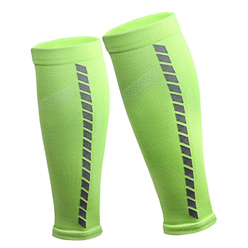 MCTi Calf Compression Sleeve Socks for Shin Splint Calf Pain Relief-Men Women Calf Guard for Running, Cycling, Maternity, Marathon, Nurses 1 Pair Green by MCTi