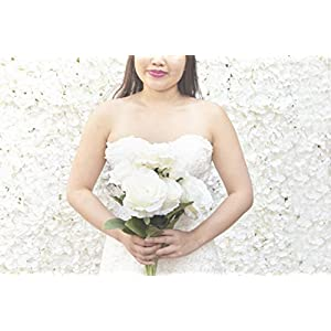 Beautiful Elegant White Roses Made of Artificial Soft, Flowing Silk (7). Looks Realistic! High end Look for Weddings, Home Decor. 50
