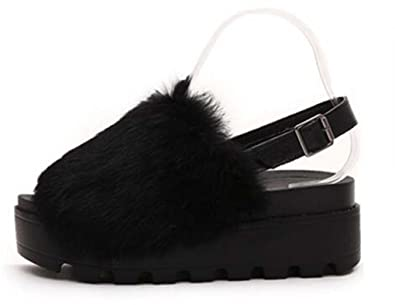 Women Rabbit Fur Muffin Bottom Buckle Sandals
