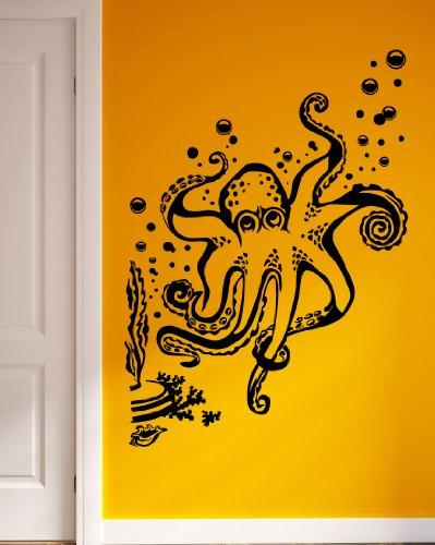 Octopus Seaweed Bubbles Ocean Marine Sea Decor Wall Mural Vinyl Art Decal Sticker M490