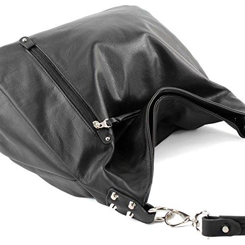 modamoda de - Made in Italy - Bolso al hombro para mujer ver descripción Schwarz Nappaleder