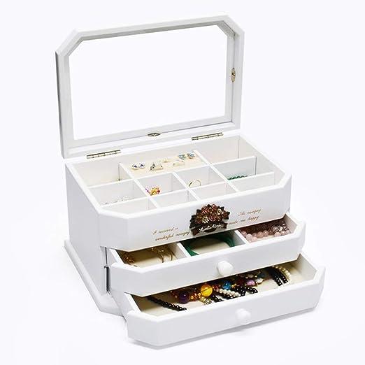 Gran Madera Caja Joyero con Cajones,Tapa De Cristal Caja De Joyas,Mujeres Organizador con Espejo Blanco 28 * 16,5 * 18,5 Cm: Amazon.es: Hogar
