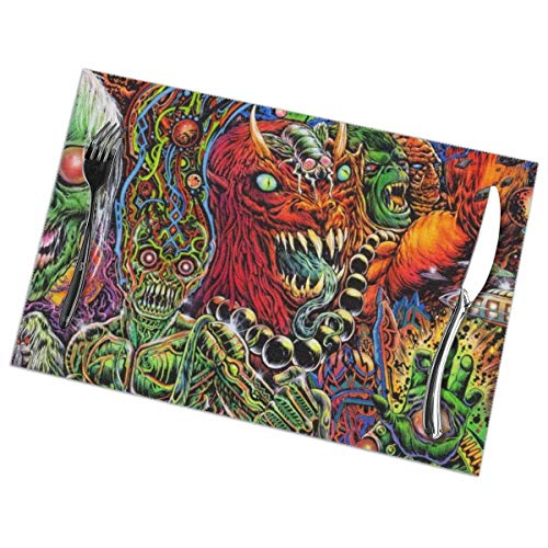 Halloween Mexican Colorful Skull Zombie Scary Makeup 6 Piece Set Of Placemats Pc Party Kitchen Dining Room Home Table Food Mat Patio Picnic Decorations Decor Ornament Themed Print Pattern Kid -