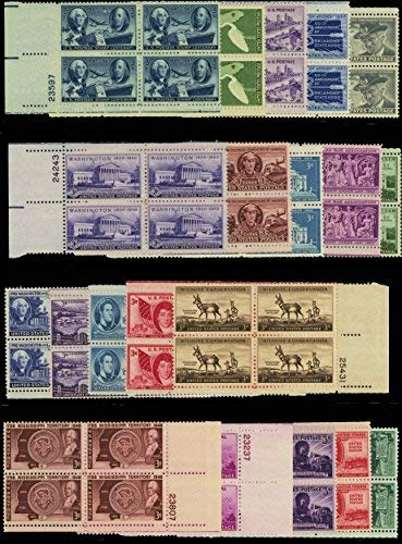 20 Different U.S. 3 Cent Plate Blocks of Four Stamps. All at Least 57 Years Old