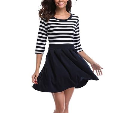 Xianhan Apparel Vintage O-Neck Vestido Party Dresses Blue White Stripe 3/4 Long