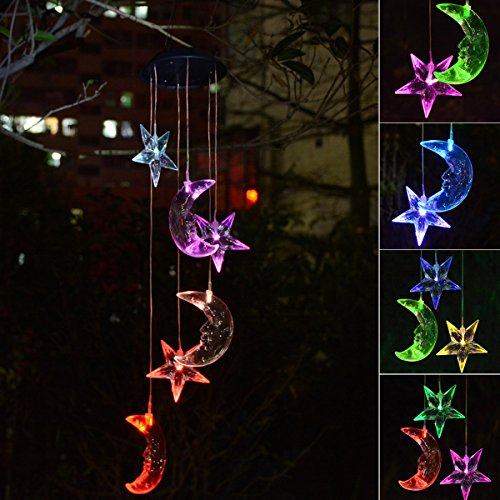Chasgo Solar Wind Chime Color Changing Solar Mobile Moon and Star Wind Chime Solar Moon Light Outdoor Hanging Yard Art