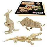 WoodFlair 3D Wooden Puzzle, Set of 3, Wild
