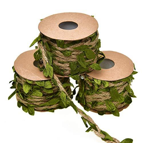 Timoo Leaf Garland, 3 Rolls Burlap Vine Greenery for Safari Baby Shower, Wreath Wedding and Home Office Decoration (49.2 Feet) -