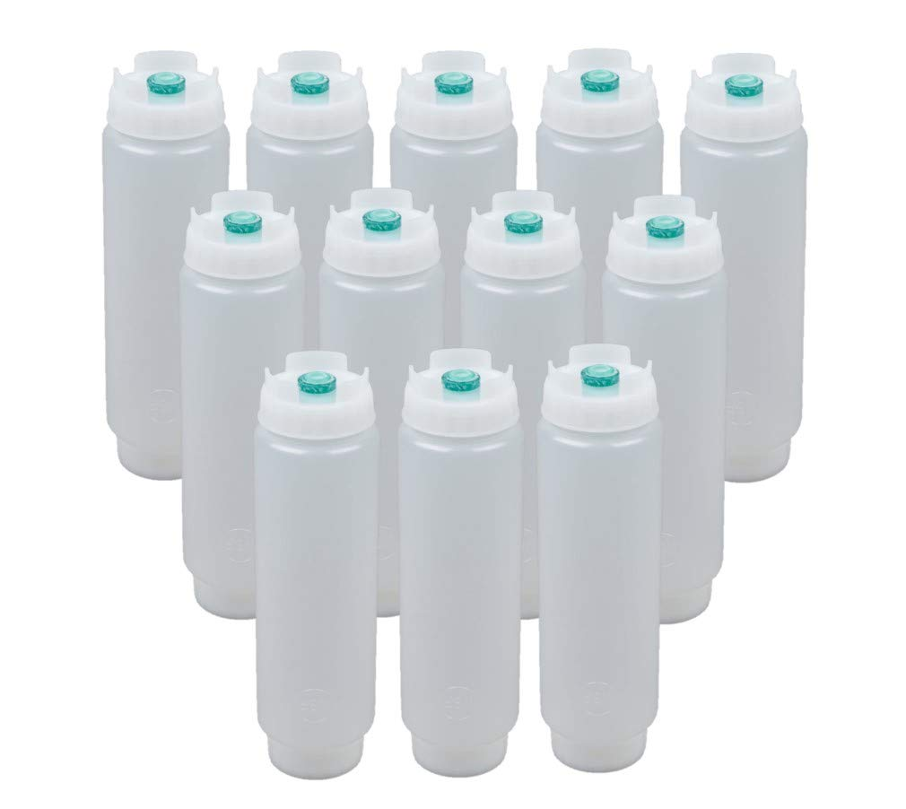 FIFO Squeeze Bottle Refillable 16 oz | Green Tip Small Valve Dispenser for Thin Condiments, Sauces, Batter and Dressing | Self Sealing No Drip No Hassle | (12 Pack)