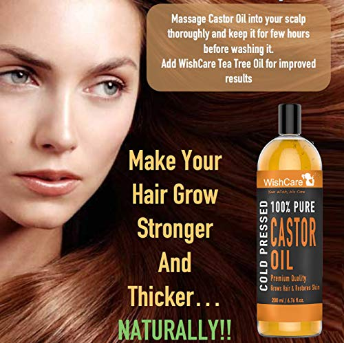 WishCare® Premium Cold Pressed Castor Oil - Pure & Virgin Grade - For Healthy Hair and Skin - 200 Ml