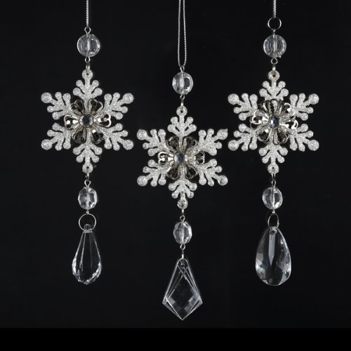Christmas Tablescape Decor - White Snowflake ornaments with dangling faux diamond chandelier drop - Set of 3 Assorted