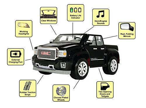 rollplay gmc sierra denali 12 volt battery powered ride on. Black Bedroom Furniture Sets. Home Design Ideas