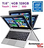 2017 Premium Lenovo Yoga 710 11.6'' 2-in-1 IPS Touchscreen (1920 x 1080) Laptop PC, Intel Pentium Dual Core Processor, 4GB RAM, 128GB SSD, HD Graphics 615, Bluetooth, WIFI, HDMI, Windows 10, Silver