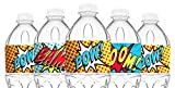 POP parties Superhero Red Bottle Wraps - 20 Superhero Water Bottle Labels - Superhero Decorations - Made in The USA