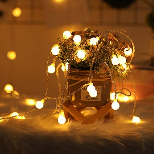 2 x 100 LED Globe String Lights Battery Operated Waterproof, 2 x 49 Ft Fairy String Light 8 Modes Dimmable with Remote Control for Indoor, Outdoor, Bedroom, Party, Wedding, Christmas Warm White