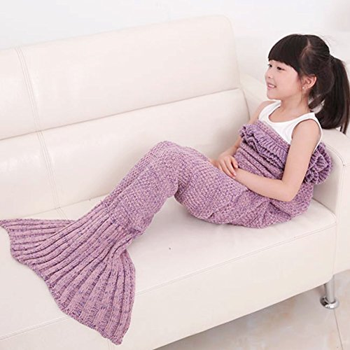 KALRI Warm and Soft Kids Knitted Mermaid Blanket Handmade Sleeping Bag Sofa Quilt Living Room Blankets