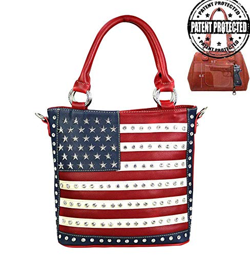 Montana West Womens Concealed Carry Tote Crossbody Purse American Pride Collection US04G-8461 ()