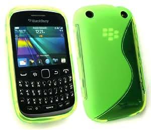 Emartbuy ® Value Pack Para Blackberry Curve 9320 Protector De Pantalla + Ondulado Gel Cubierta De Piel Verde + Compatible Micro Usb Cargador De Coche