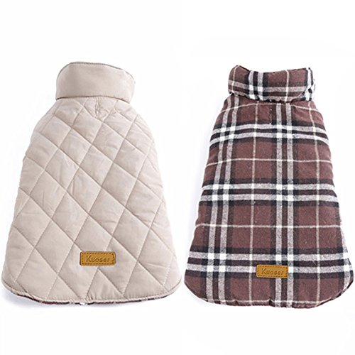 Kuoser Cozy Waterproof Windproof Reversible British Style Plaid Dog Vest Winter Coat Warm Dog Apparel for Cold Weather Dog Jacket for Small Medium Large Dogs with Furry Collar (XS – 3XL),Brown XXL