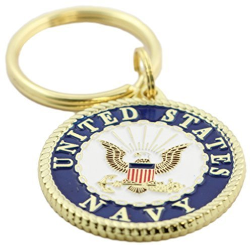 US Navy Crest Keychain Patriotic Key Rings Military Gifts Collectibles Men Women ()