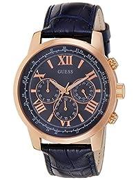 Guess W0380G5 45mm Stainless Steel Case Blue Calfskin Mineral Men's Watch