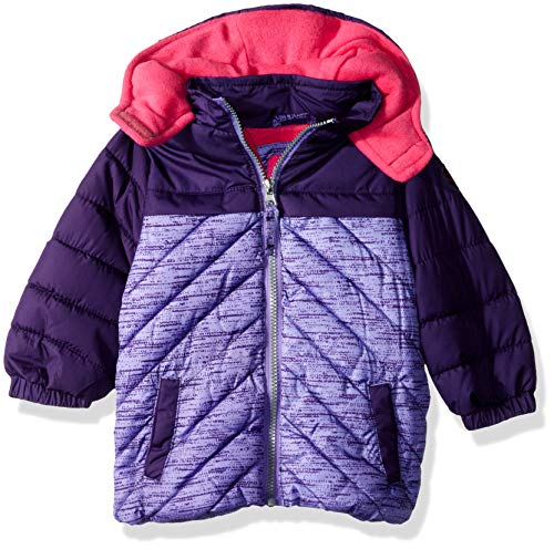 Pink Platinum Baby Girls Active Puffer Jacket, Purple 24M