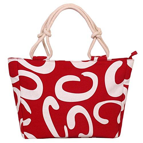 Fortuning's JDS® Leopardo lona elegante bolso impreso bolsa de señora de la oficina bolsa de color rojo, letra C
