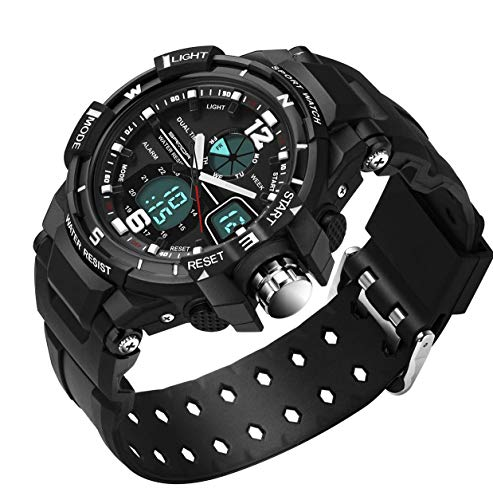 Waterproof Waches for Boys with Digital Analog Alarm Chronograph LED Outdoor Sport Wrist Watch for Boys Kids 6-15 Years (All Black) ()