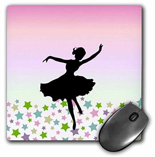 Price comparison product image 3Drose LLC 8 X 8 X 0.25 Inches Mouse Pad, Spinning Ballet Dancer Dancing Amongst the Stars, Pink Graceful Balerina Silhouette, Girly Dance (Mp_112812_1)