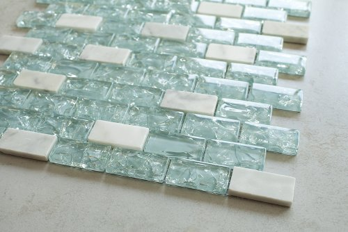 Blue Cleft Glass & Bianco Marble Mosaic Tile - Blue & White 1