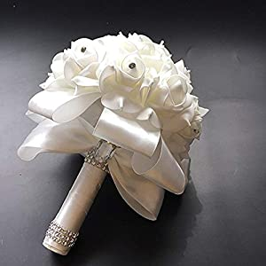 Antrader Artificial Wedding Holding Bouquet Flowers Roses Crystal Rhinestone Bridal Silk Throw Bouquet 108